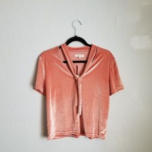NWT Madewell Coral Velvet Tie at Neck Size Large